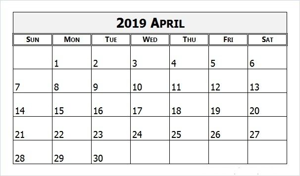 Blank April Calendar 2019 Free April 2019 Calendar Printable
