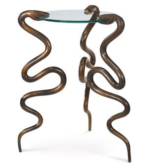 JUDY KENSLEY MCKIE (b. 1944)  A PATINATED AND GLASS SERPENT SIDE TABLE, 1997