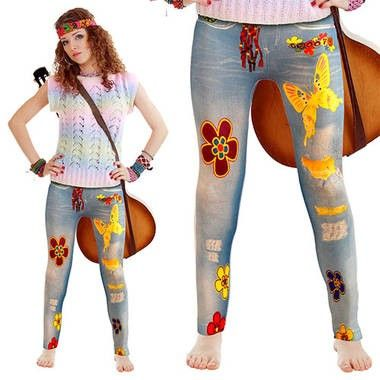 Hippie flower power legging dames  Op de legging staan vrolijke bloemen vlinders en symbolen afgebeeld.  EUR 7.20  Meer informatie