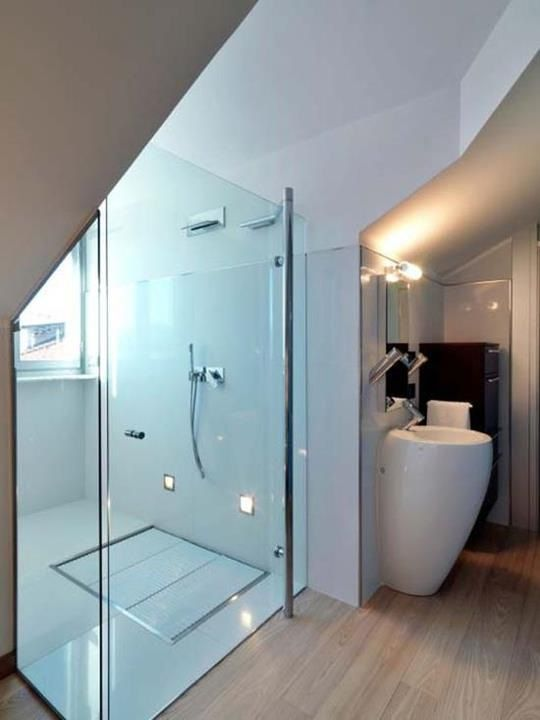 Web Image Gallery Apartment Small Modern Bathroom with Shower Area and Glass Enclosure from Atticus apartment by Studio Damilano The Atticus Apartment In The Attic By