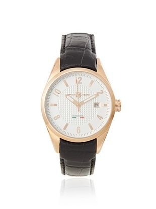 63% OFF Officina del Tempo Men's OT1037/430BGM Elegance Brown/White Leather Watch