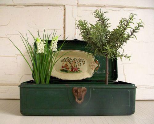Vintage Tackle Box , Utility Chest , Green Metal Tool Box , Metal Storage Box , Cabin Decor Industrial Chic , Vintage Vignette