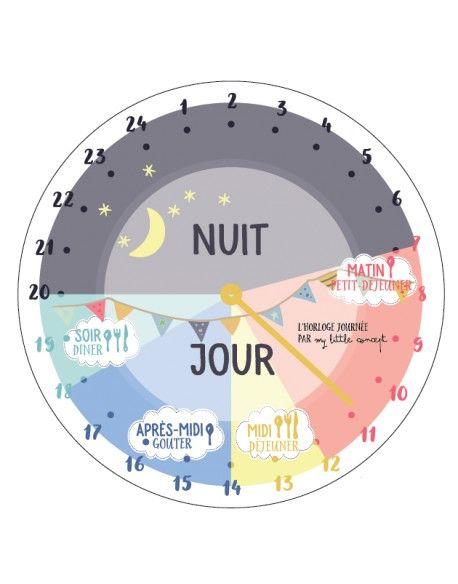Une horloge pour aider les plus petits à se repérer dans leur journée. Grâce à cette horloge sur 24 heures, les enfants pourront anticiper leur routine quotidienne.
