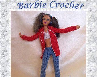 Abito all'uncinetto rosa e nero di Barbiecrochet su Etsy