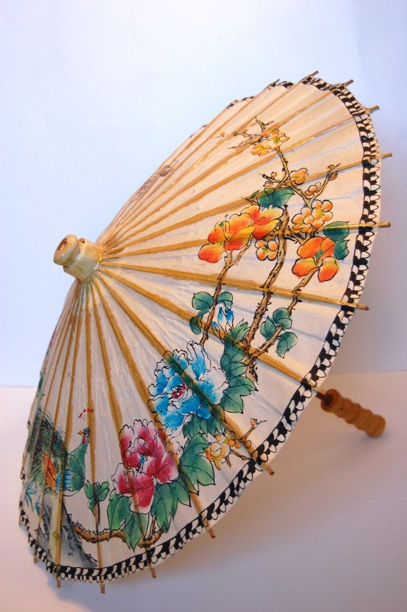 Image detail for -Vintage Handpainted Chinese Paper Umbrella Parasol