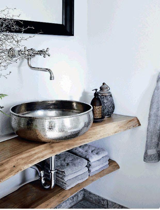 25+ melhores ideias sobre Pias De Banheiro Rústico no Pinterest  Banheiros r -> Pia Para Banheiro Rustico