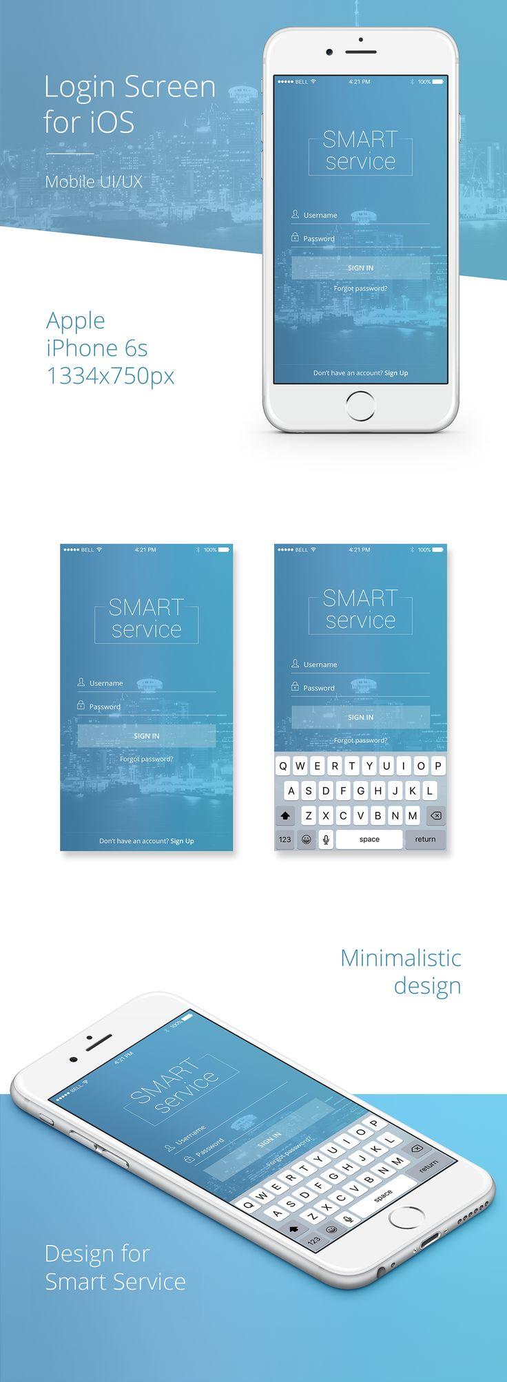 """Free PSD """"Login Screen"""" for iOS on Behance"""