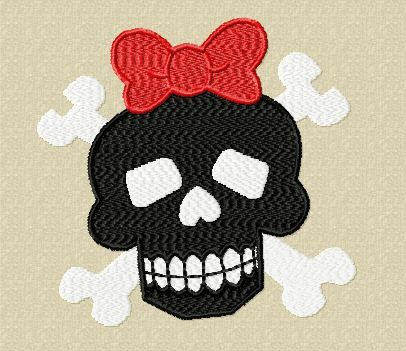 Gothic Girl Skull Embroidery Design by EmbroideryDownloads on Etsy, $1.99