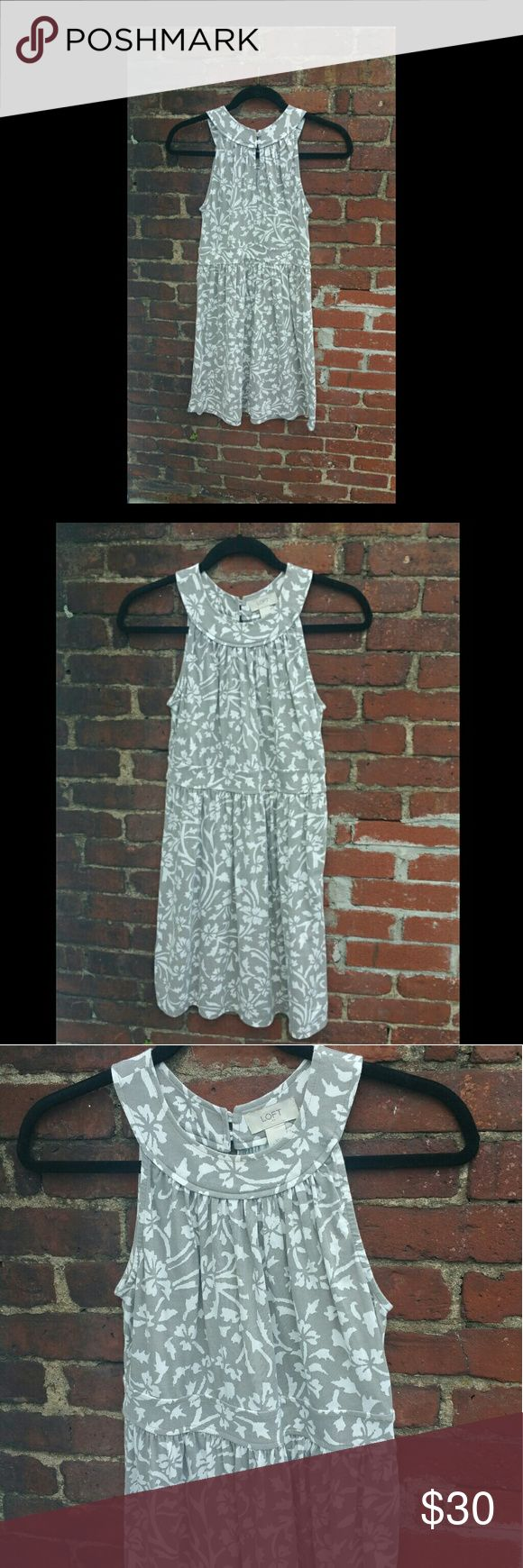 """LOFT. Womens empire waist dress Gray and white floral print LOFT empire waist, sleevless dress. With key hole back opening.  Measurements taken laying flat  Size: XS Bust? (armpit to armpit): 19"""" Waist: 15"""" Collar to hem : 33""""  See photos for details. I try to be thorough and accurate with photos and details.  CONDITION:  Preowned. Very Gently Used Condition. No holes, rips, tears, or stains LOFT Dresses Midi"""