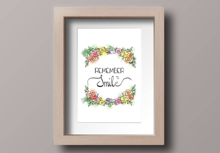 Printable wall decor, calligraphy, watercolor flowers, instant download, inspirational print, motivational quote, Remember To Smile di VersusPrints su Etsy
