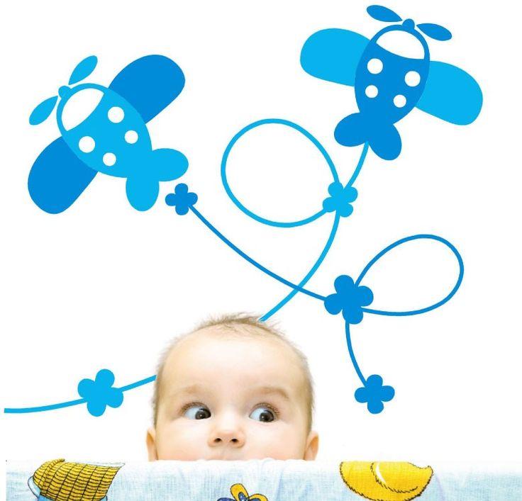 Vinilos decorativos - MyVinilo ® | Vinilo aviones infantiles - my first plane
