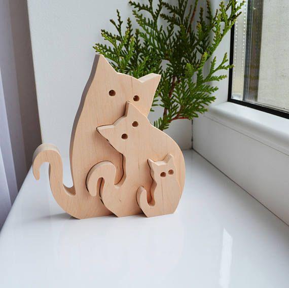 En bois Puzzle chats – cadeaux de jouets éducatifs – jouets Puzzle – enfants – waldorf bois animaux – chats en bois – chats famille – cadeau fête des pères