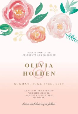 Flowers on Canvas printable invitation template. Customize, add text and photos.  Print, download, send online or order printed!