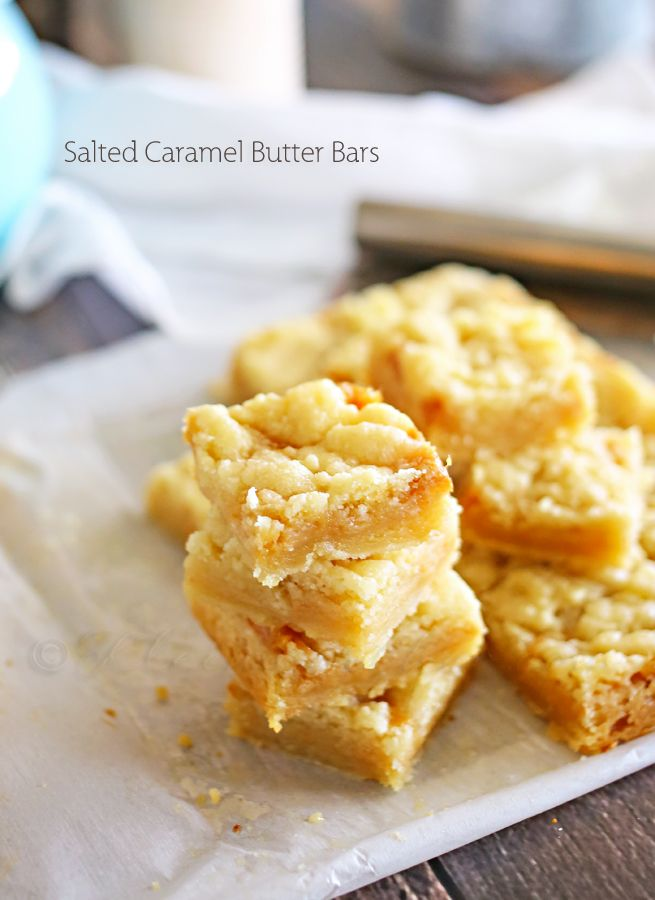 Salted Caramel Butter Bars - Delicious salted caramel in these rich butter bars is positively delightful. I mean, if you love salted caramel, then these really are for you.