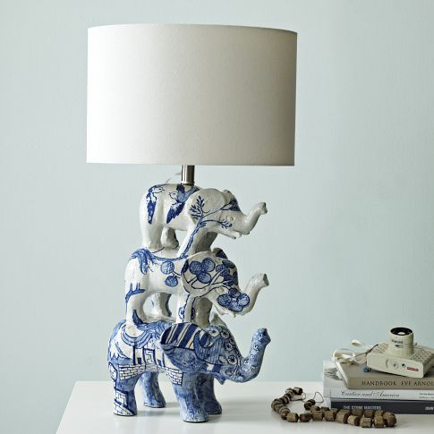 Please? To go with my other blue and white elephant lamp? Can you have too many?  Shirley Fintz Table Lamp | west elm