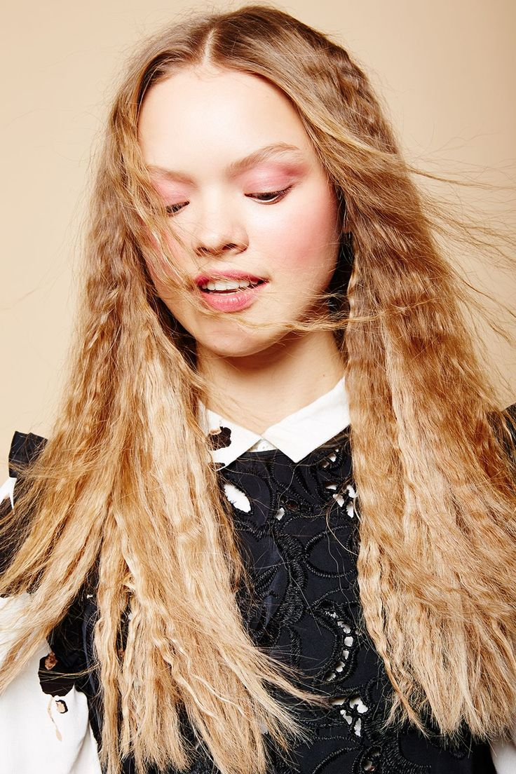 This Is Going To Change The Way You Use Your Flat Iron #refinery29  http://www.refinery29.com/flat-iron-hairstyle-ideas#slide-16   Once you've loosened all the braids, gently glide a wide-tooth comb through your hair. But whatever you do, do not brush it. (Unless you want a cotton-candy effect.) If your hair is still looking a little frizzy — and not in the good way — rub some styling cream, like <a…