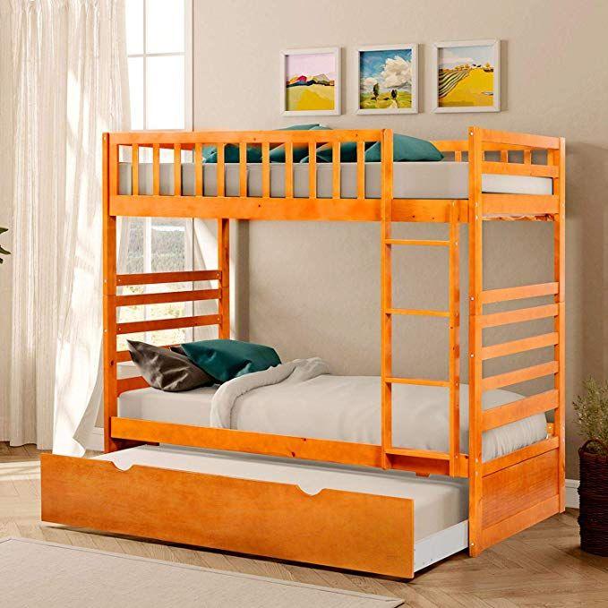 Amazon.com: Solid Hardwood Twin Bunk Bed, Twin Bunk Beds ...