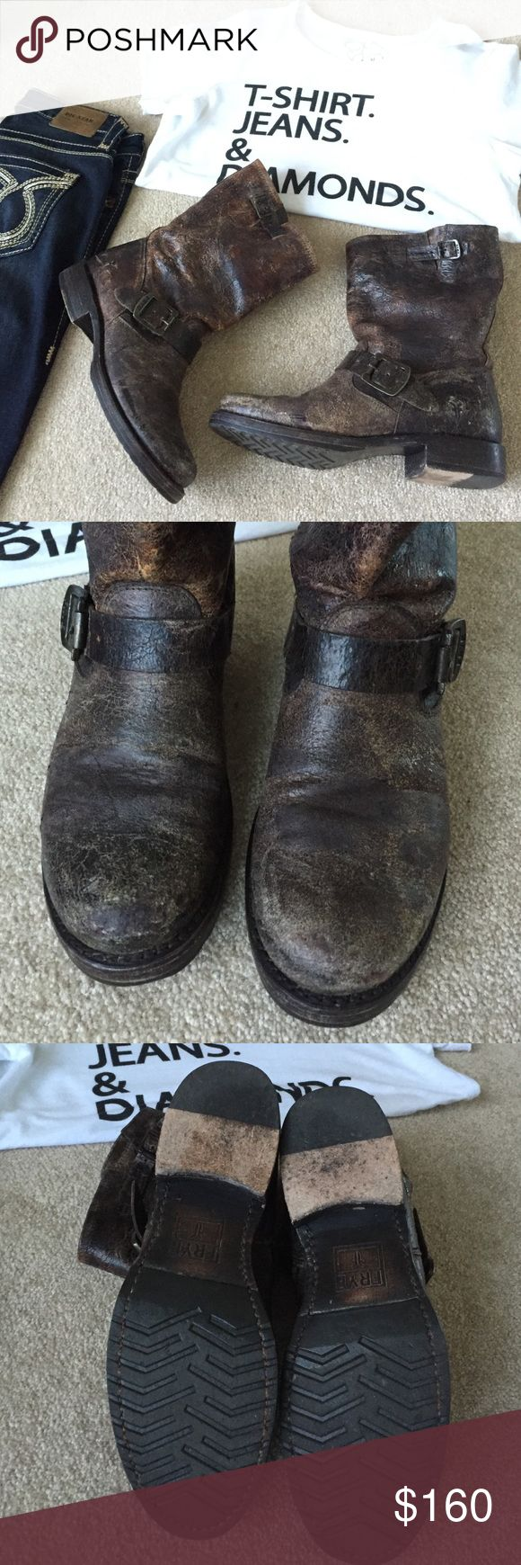 Frye Veronica Slouch short boot Frye Veronica Slouch short boot. Distressed leather, EUC. Women's size 8 this is a no trade closet, lowball offers will be ignored/declined Frye Shoes Combat & Moto Boots