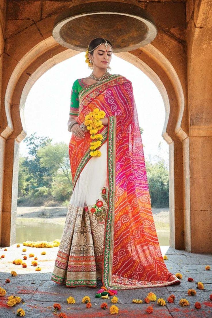 Red  Net Wedding Saree