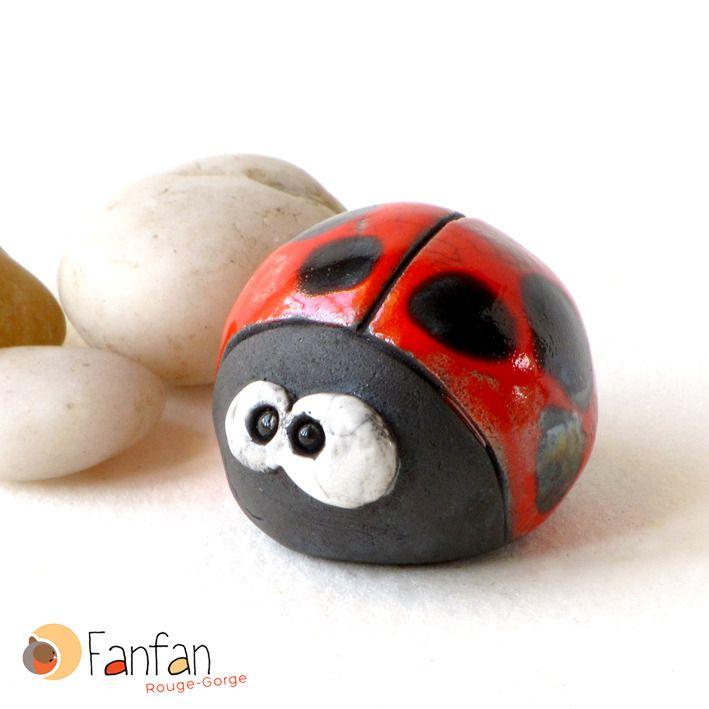 Jolie coccinelle rouge en céramique Raku : Art céramique par fanfan-rouge-gorge