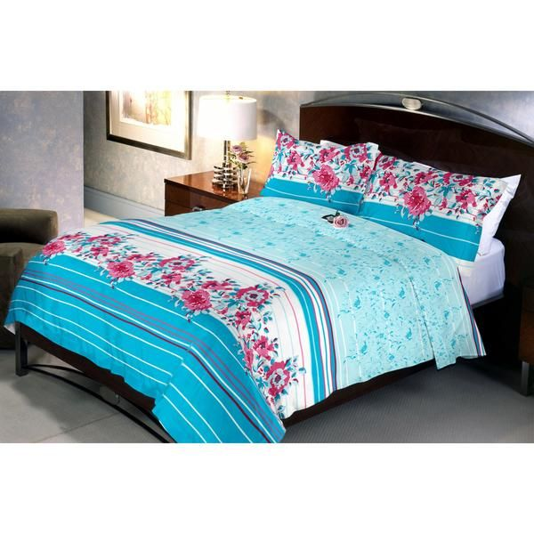 cyano Red Flowery Bed Sheet Gives A Pleasant Feeling With Light Cyan Background With Blooming Red Roses. It Is Made Of Poly-cotton And Is Soft In Nature.