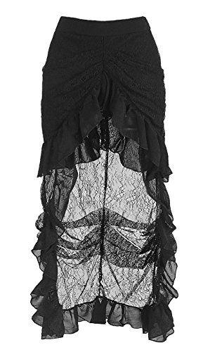 52cd511b09 Killreal Women's High Waist Victorian Steampunk Gothic Hi Low Skirt