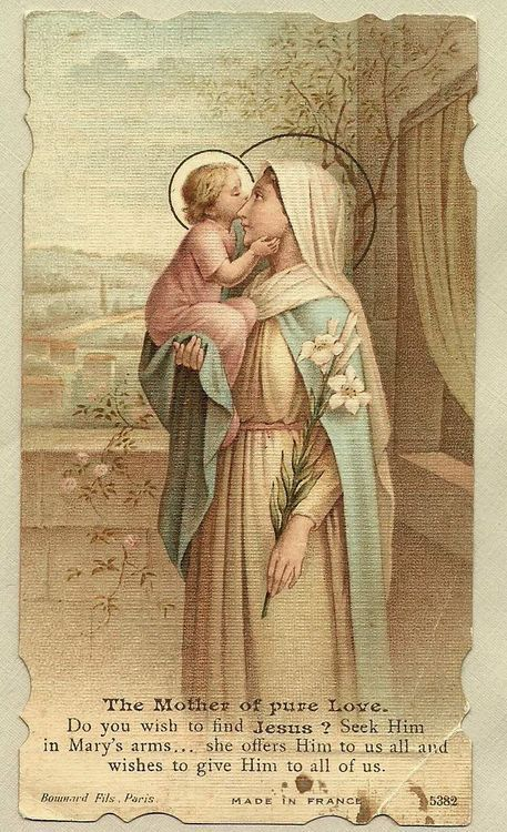 The Virgin Mary and Child Jesus. Vintage Holy Card. First card I've seen with Jesus kissing His Mother. Makes me melt.