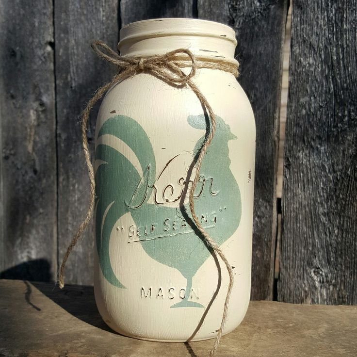 Mason Jar Love with a rooster to boot! Pick your colors make it your own. For the rustic country kitchen.