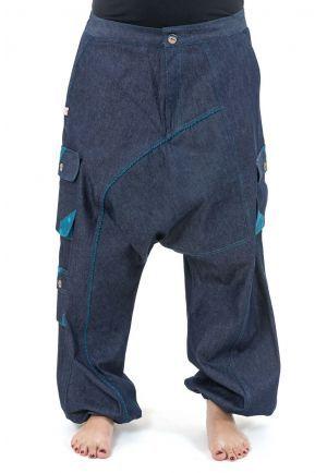 Sarouel baggy femme urban ethnic blue jean denim et violet Sikha   Ainos  opslagstavle   Pinterest   Denim jeans, Denim og Urban 225321119f50