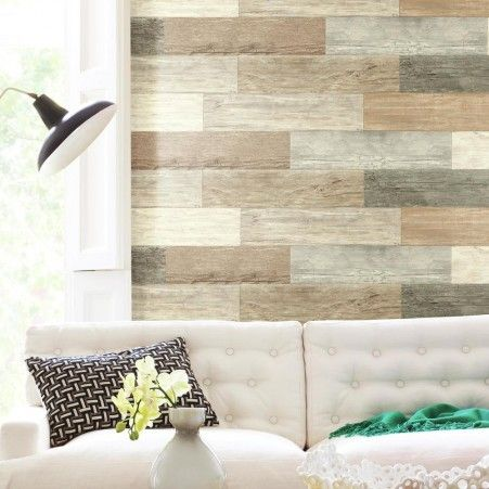 Distressed wood plank peel and stick wall decals