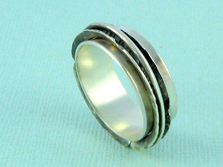 Sterling Silver Fidget Ring. Silver Spinner Ring. Double Spinner Ring. Chunky Mens Spinner Ring.  Contemporary. Handmade Jewelry by ZaZing by ZaZing on Etsy