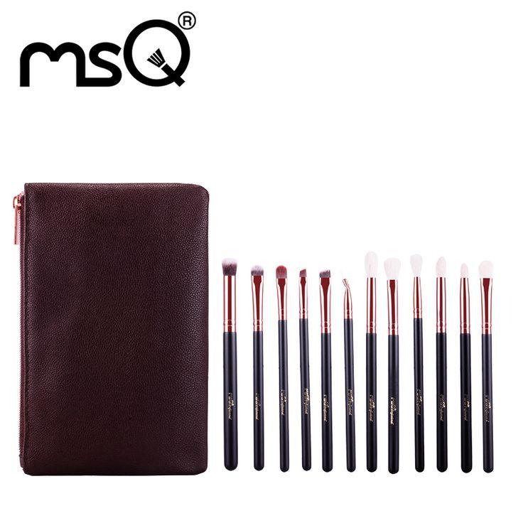 MSQ 12 pz Pennelli Trucco Set In Oro Rosa Make Up Spazzole Morbide Capelli Animali o Sintetici Per La Bellezza