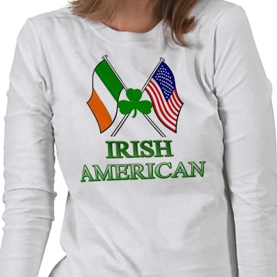 Irish American. Shamrock on Flags for St-Patrick's Day T-shirt /  #apparel #tee #clothes #clothing #fashion #style #TShirt #Green