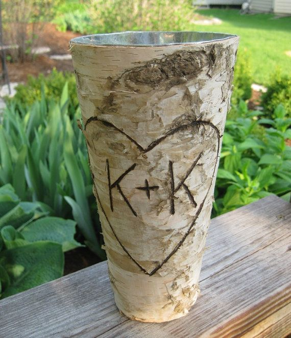 Personalized Birch Bark Vase for WEDDING by FloralAccents on Etsy, $18.50