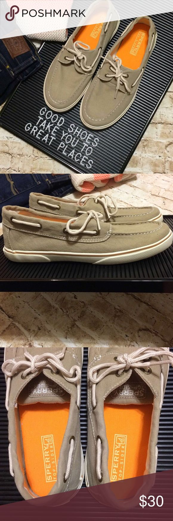 Unisex Sperry Boat Shoes Tan canvas boat shoes by Sperry. Unisex. Laces in good condition. Some minor wear on bottoms as shown but the tops and insides are very clean. Men's Size 6, Women's size 8.5. Perfect for spring and summer. Sperry Top-Sider Shoes Flats & Loafers