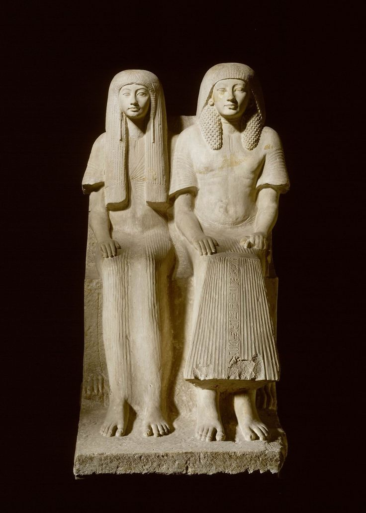 Double ka statue of maya and merit limestone new kingdom - Egitto splendore millenario ...