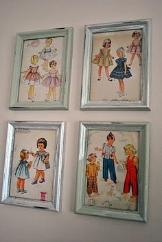 I love the idea of putting vintage pattern in frames like this. Cool for a sewing room. Old Vogue patterns. Or vogue magazine covers from way back.