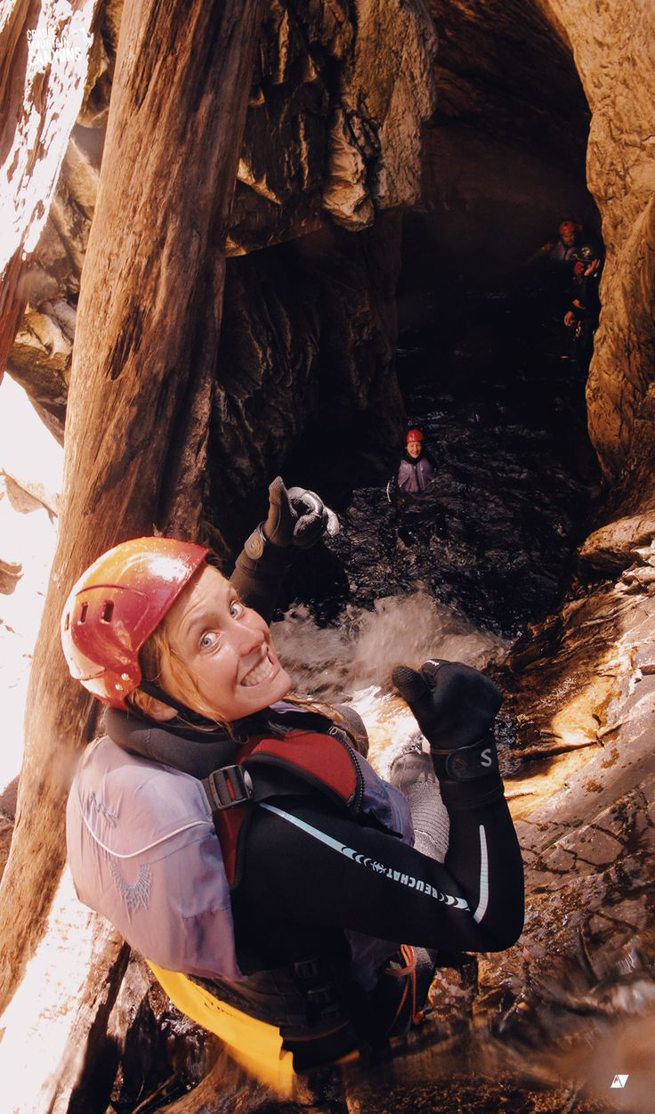 Taking the plunge down Top Pit Falls at Cradle Mountain with Cradle Canyons Discover Tasmania #travel #canyoning