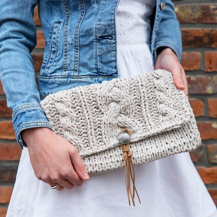 Red Pouch Clutch Knitted Cloud Bag Oversized Clutch Eco-Leather Clasp