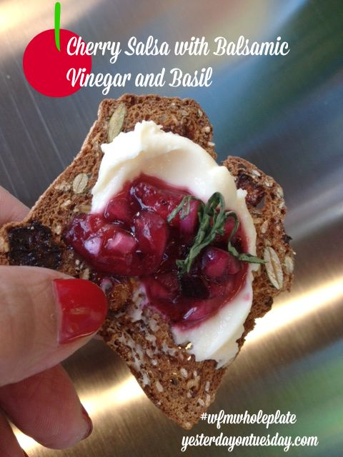 Cherry Salsa with Balsamic Vinegar and Basil #appetizers #cherrysalsa #cherries
