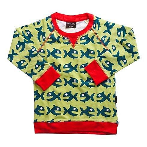 Organic Sweatshirt Hungry Piraya Piranha by Maxomorra