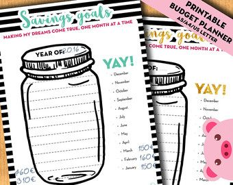 Savings goal tracker, jar savings chart, Budget planner, financial binder- A4, A5, US letter inserts for filofax, kikki.K - PRINTABLE PDF