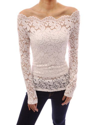 PattyBoutik Floral Lace Scallop Off Shoulder Fitted Sheer Blouse Top (Ivory L) PattyBoutik http://smile.amazon.com/dp/B00K0DOGSY/ref=cm_sw_r_pi_dp_5r2Utb0G6AMXS2EF