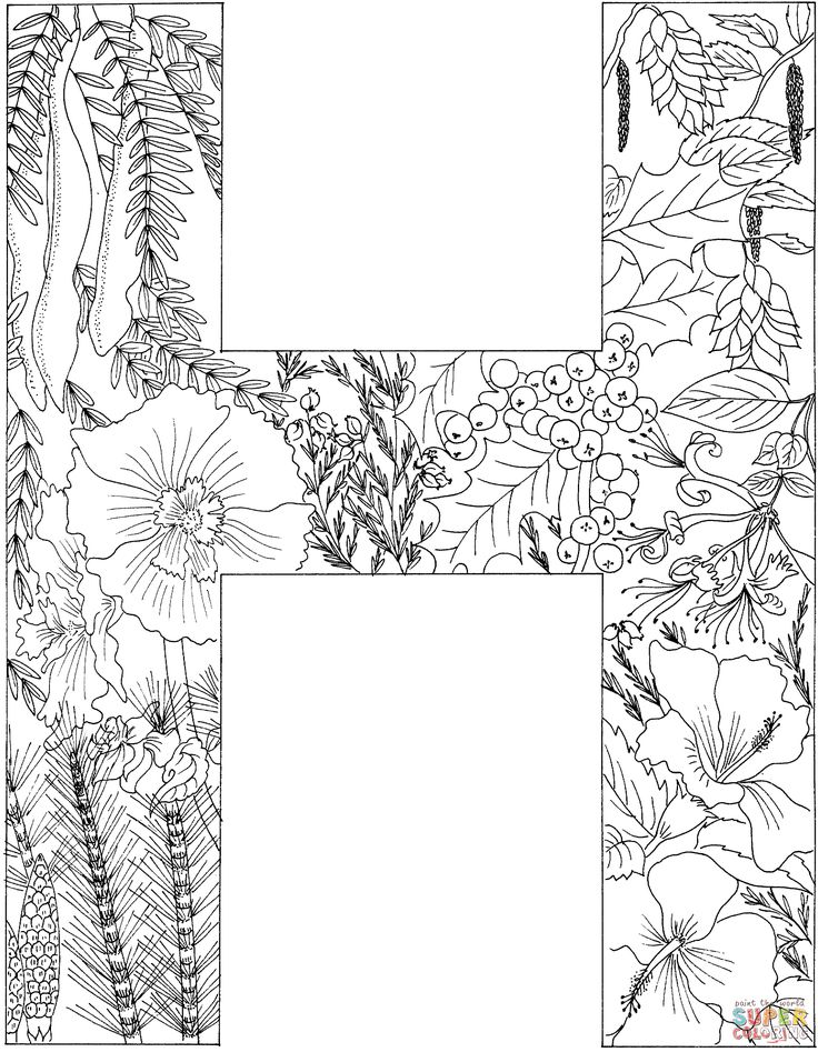 letter h with plants coloring page free printable