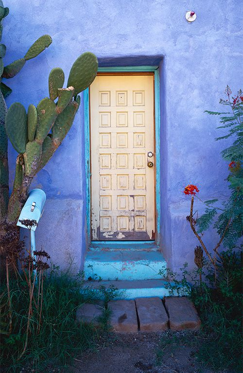 Tucson Lost Barrio Door: Colors Combos, Color Combos, Angel Hess, Blue Wall