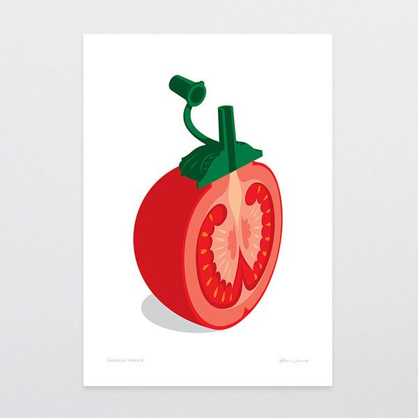 Chopped Tomato - Art Print by Glenn Jones Art - art to make you smile. One of the many unique prints that can be found in our Supper Club 2015 gift bags