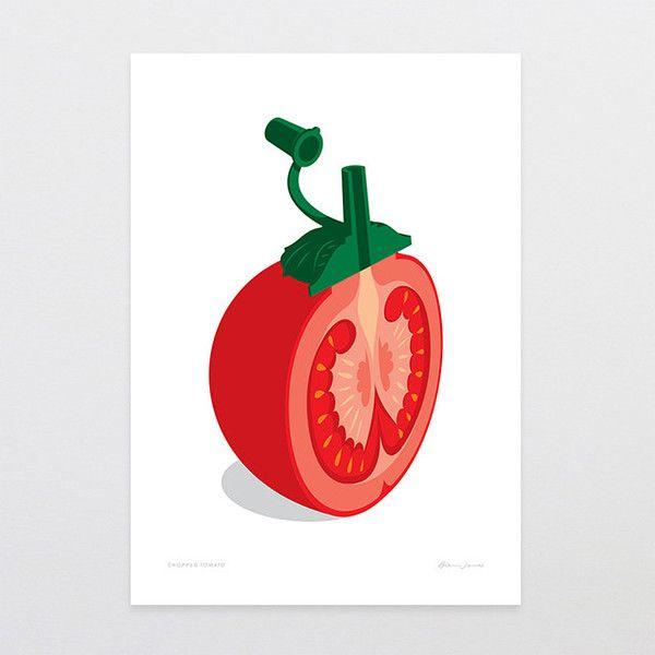 Chopped Tomato - Art Print by Glenn Jones Art - art to make you smile. Available in a range of sizes. Click image to buy online. www.glennjonesart.com