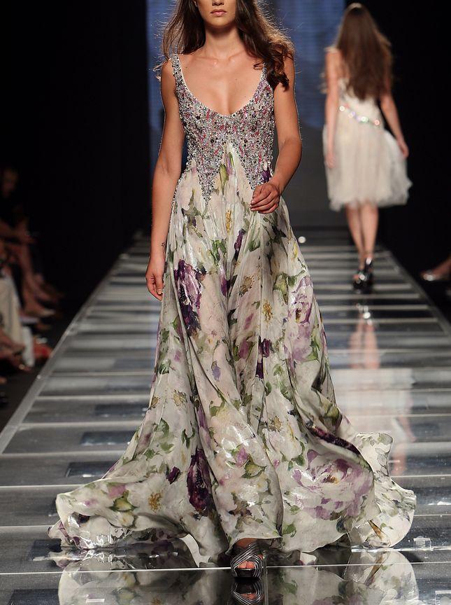 Tony Ward, Phenomenal floral printed silk chiffon gown