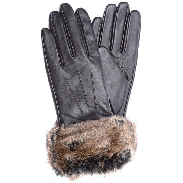 Women's Barbour Fur Trimmed Leather Gloves - Dark Brown (4.265 RUB) ❤ liked on Polyvore featuring accessories, gloves, barbour, barbour gloves, fur trim gloves, leather gloves and fur trimmed leather gloves