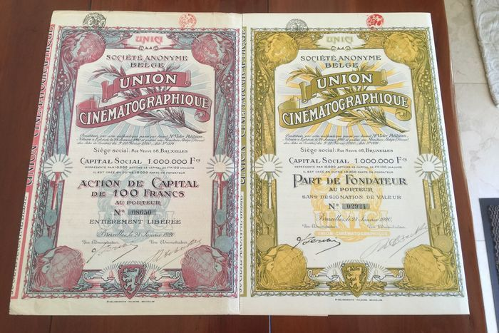 Online veilinghuis Catawiki: België - Société anonyme Union Cinématographique - 1920 Red Action De Capital De 100 Francs 1 X  Yellow Part De Fondateur 1 X  Pictures from actual stocks sold.  Judge for yourself on the basis of the images.
